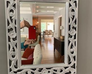 """2. White Washed Carved Mirror (16"""" x 20"""")"""