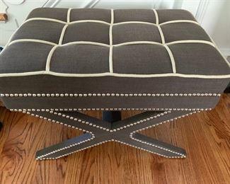 "5. Grey and Cream Tufted Bench w/ Nailhead Detail (25"" x 16"" x 19"")"
