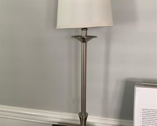 """8. Pair of Chrome Candlestick Lamps (25"""")"""