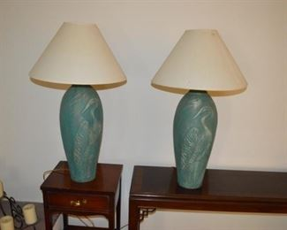 Two cool weathered copper looking lamps.