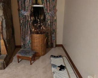 lg. basket with flowers, storage foot stool, oriental wall hanging