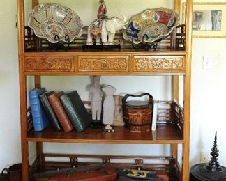 Chinese carved shelf; ginger jar collection; boxes; porcelain