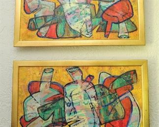 """Diptych  by Peruvian artist Luis GARCIA-ZAPATERA, (Peruvian, b. 1963), Untitled Abstraction #1 & #2, oil on canvas, signed lower right, excellent condition.  22"""" x 28"""" each.  Framed in gold wood."""