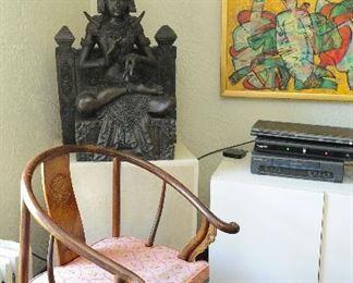 Pair moon chairs; Thai statue