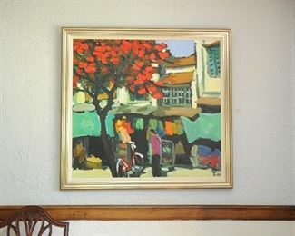 """Tran LUU HAU (Vietnamese, b. 1928), Untitled Village Scene with Red Tree, oil on canvas, signed lower right, excellent condition.  40"""" x 43"""".  Framed in antique silver wood."""