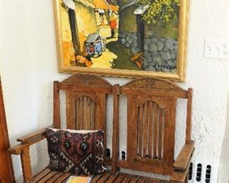 """Carved bench; original work by Le Thanh SON (Vietnam, b. 1942), Untitled (Village Scene), oil on canvas, signed lower left, excellent condition.   40"""" x 35.5""""  Gold wood frame"""