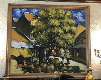 """Le Thanh SON (Vietnam, b. 1942), Untitled (Village Scene), oil on canvas, signed lower left, excellent condition. 36"""" x 40""""  Gold wood frame."""