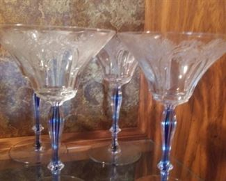 Vintage Bohemian etched glass with cobalt stem