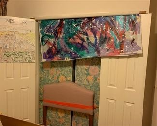 Very large 80's-90's original painting. Great for a photo backdrop!                                                                                                     2 twin pink upholstered headboards with free mattresses