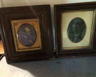 Large wood framed Dag type left/ambro type right, neither person identified