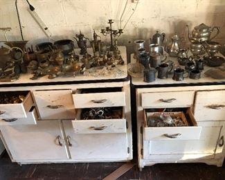Vintage enamel top cabinets