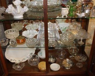 Glassware in curio cabinet