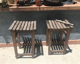 Wood outdoor stools