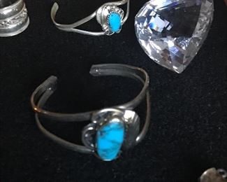 Navajo sterling small to baby bracelets