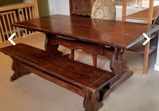 Ethan Allen 'Old Tavern' Table and Bench