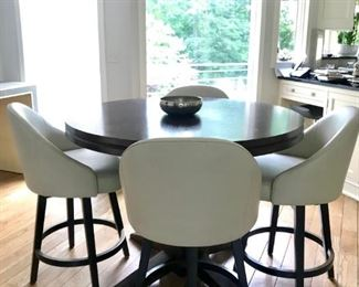 Breakfast Table and 4 White Swivel Chairs
