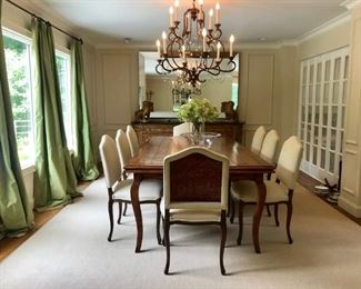 Bausman Dining Table and Custom Chairs can open to 12 t Hidden Leaves, Stark Carpet  Large Miror