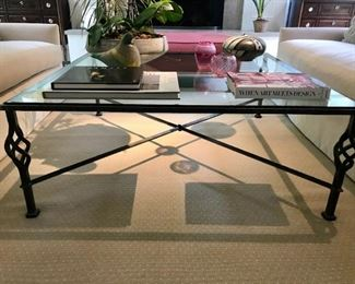 Forged Iron and Glass Cocktail Table 4 ft x 4ft