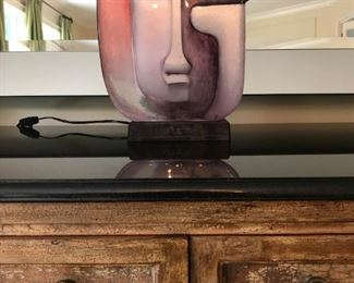 Glass Picasso Style Sculpture Sits on Stand to Backight Title IDEO Ltd Edition 15 of 49 by Mats Jonasson
