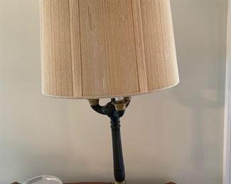 2. Pair of Bronze Column Triple Bulb Lamp (33'')