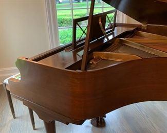 4. George Steck Mahogany Mini Baby Grand Piano (# 191290) w/ Custom Needlepoint Upholstered Bench