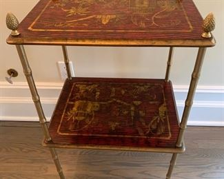 5. Pair of Handpainted Asian Side Tables w/ Brass Detail (21'' x 16'' x 31'')