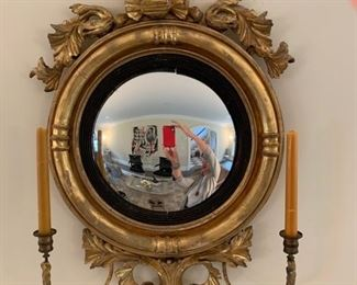 6. Gilt Carved Convex Mirror w/ Two Candlesticks (18'' x 32'')