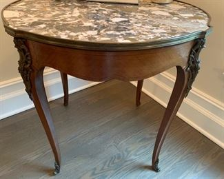 14. Antique Fruitwood Side Table w/ Marble Top & Brass Detail (31'' x 30'' x 30'')