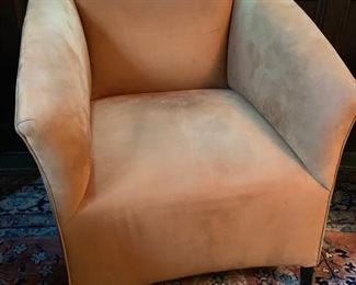 24. Pair of Cognac Ultrasuede Armchairs (28'' x 30'' x 31'')