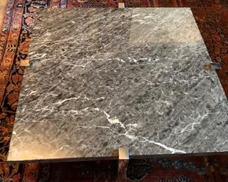 21, Cusotm Square Faux Marble & Chrome Coffee Table (40'' x 12'')