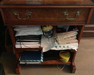35. 1 Drawer 2 Shelf Computer Desk w/ Burl Wood & Glass Top (26'' x 23'' x 33'')