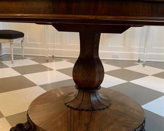 42. Ball & Claw Foot Mahogany Table on Casters from London