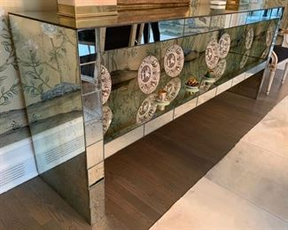45. Antique 2 Tier Mirrored Console Table (91'' x 21'' x 37'')