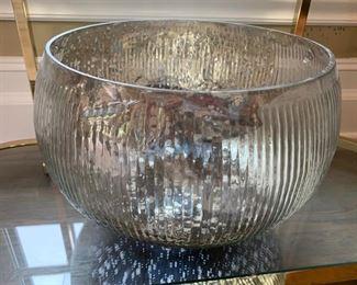 50. Ribbed Blown Glass Bowl (17'' x 12'')