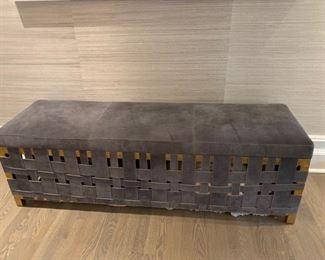 59. Grey Suede w/ Brass & Woven Suede Base Storage Bench (60'' x 19'' x 19'')