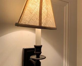 57. Pair of Ebony Oak Sconces w/ Brass Detail & Linen Shades (9'' x 17'')