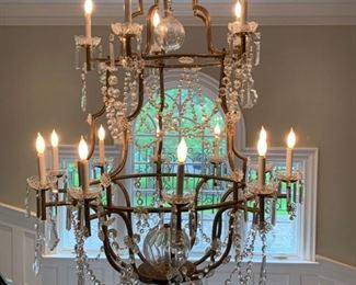 77. 15 Candle Brass & Crystal Chandelier (42'' x 72'')