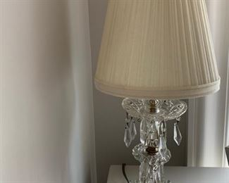 87. Pair of Antique Crystal Lamps (18'')