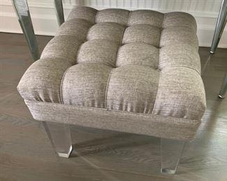 89. Custom Upholstered Linen Tufted Bench w/ Lucite Legs (24'' x 24'' x 21'')