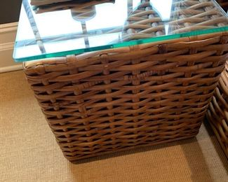 100. Pair of Woven Rattan Side Table (19'' x 19'' x 20'')
