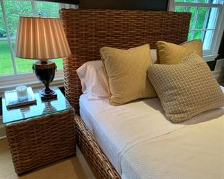 100. Pair of Woven Rattan Side Table (19'' x 19'' x 20'') 101. Queen Rattan Woven Bed