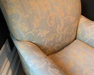 107. Custom Upholstered Armchair (34'' x 36'' x 37'') & Ottoman (34'' x 24'' x 18'') w/ Nailhead Detail