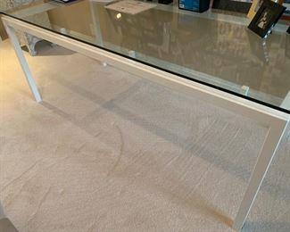 111. Desk w/ White Metal Base & Glass Top (71'' x 32'' x 29'')