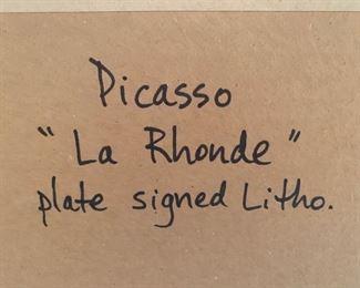 """115. """"La Rhonde"""" Picasso Lithograph (17'' x 18'')"""