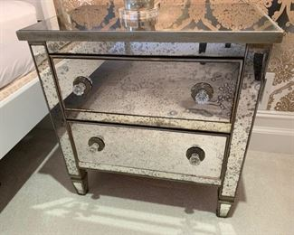 122. Antique Mirror 2 Drawer Side Table (28'' x 18'' x 29'')