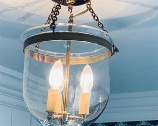 102. 3 Light Brass & Glass Globe Chandelier (16'')