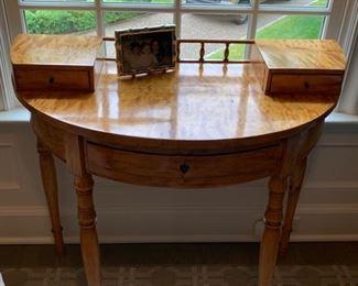 129. Beidermeyer Demilune 3 Drawer Antique Secretary (35'' x 19'' x 33'')