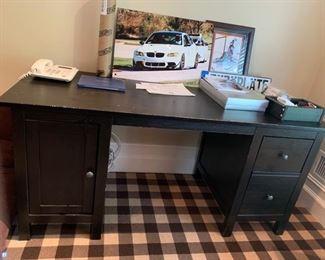 139. 2 Drawer 1 Door Black Desk (62'' x 26'' x 29'')