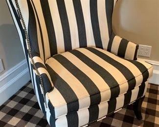 144. Pair of Wingback Armchairs w/ Nailhead Detail and Grey & White Striped Upholstry (35'' x 38'' x 41'')
