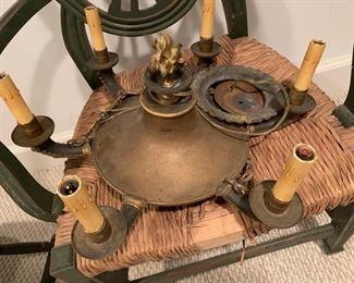 169. Antique Brass 6 Light Chandelier (20'')